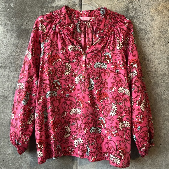 Lilly Pulitzer Tops - Lilly Pulitzer silk Elsa floral paisley